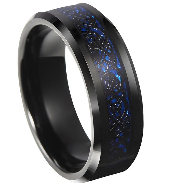 8mm celtic blue black tungsten carbide ring with dragon inlay design with carbon fiber