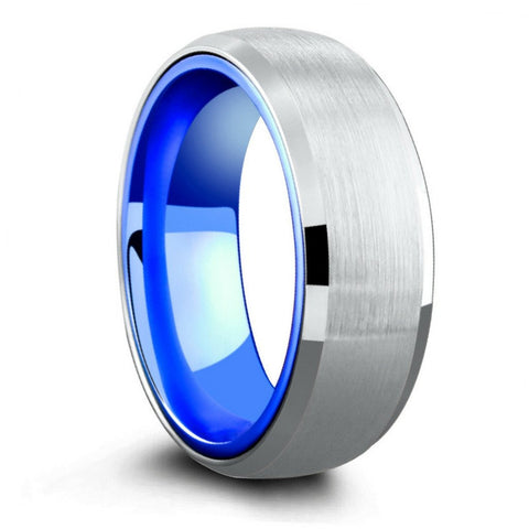 Hybrid Aluminum and Tungsten Wedding Ring - Atlantic Blue