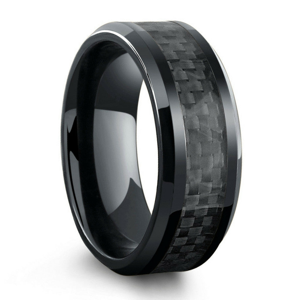 All black titanium ring mens wedding band with carbon for Black wedding ring men
