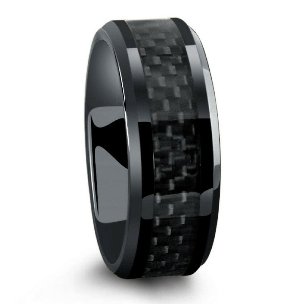 all black titanium ring mens wedding band with carbon fiber inlay - All Black Wedding Rings