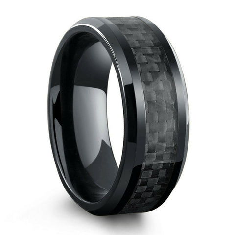 All Black High Tech Ceramic Ring With Black Carbon Fiber Inlay