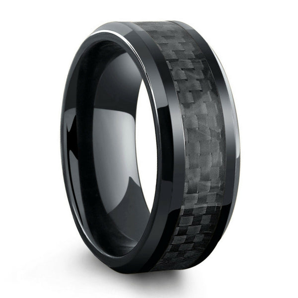 all black wedding rings all black titanium ring mens wedding band with carbon 1262
