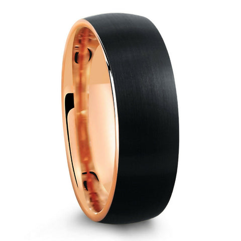 BLACK BRUSHED TUNGSTEN RING WITH ROSE GOLD INTERIOR