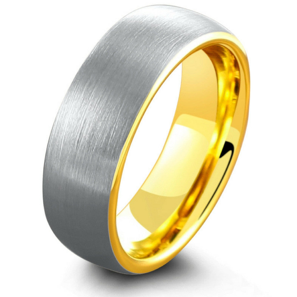 Mens Tungsten Carbide Rings gold tungsten wedding bands Tungsten Carbide Tiger Eye Inlay Dome Wedding Band Ring