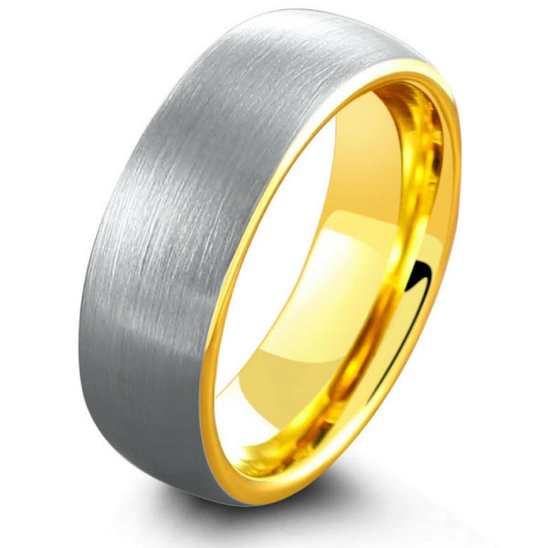 Lovely 18K Yellow Gold Brushed Tungsten Wedding Ring – NorthernRoyal KL82