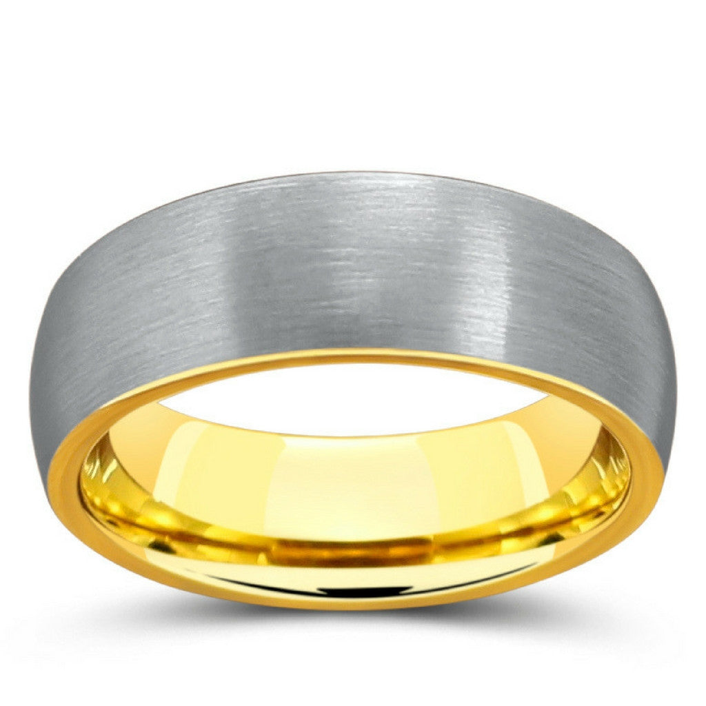 gold tungsten wedding bands Silver