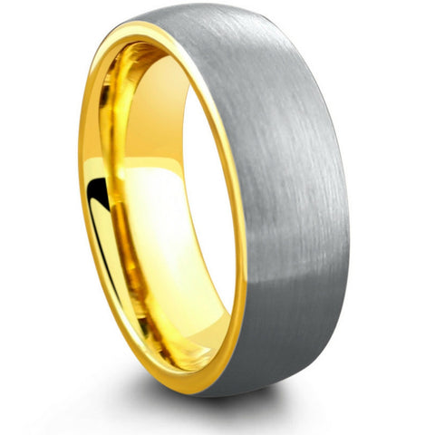 18K Yellow Gold Brushed Tungsten Wedding Band