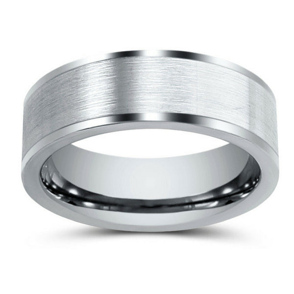 735f602ad84c0 Mens 8mm Silver Tungsten Wedding Ring With A Brushed Center