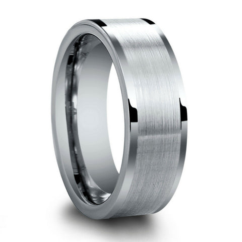 8mm Mens Silver Tungsten Pipe Cut Wedding Band With Brushed Center and Polished Edges