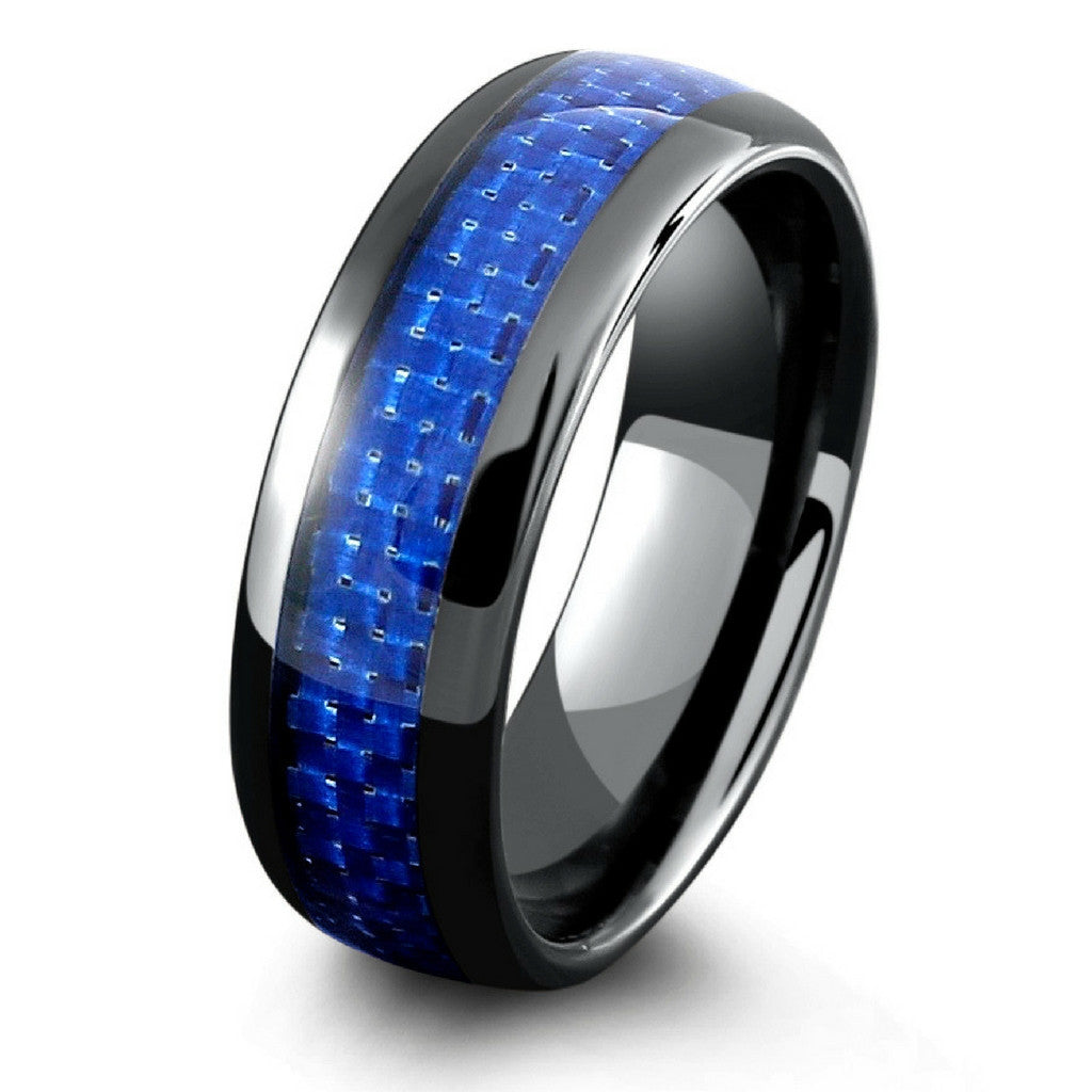 mens black ceramic wedding band with blue woven carbon fiber inlay - Black And Blue Wedding Rings