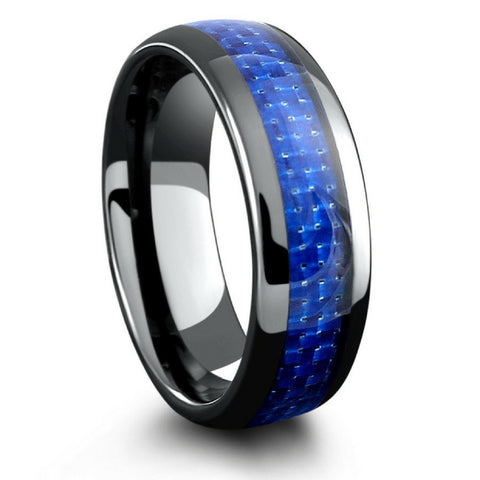 Mens Black Ceramic Wedding Band With Blue Woven Carbon Fiber Inlay