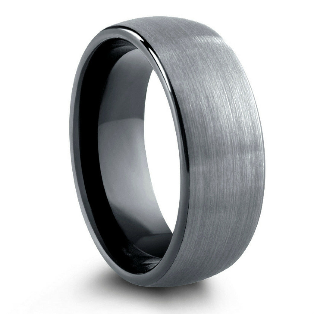 Mens Wedding Band.Brushed Silver Black