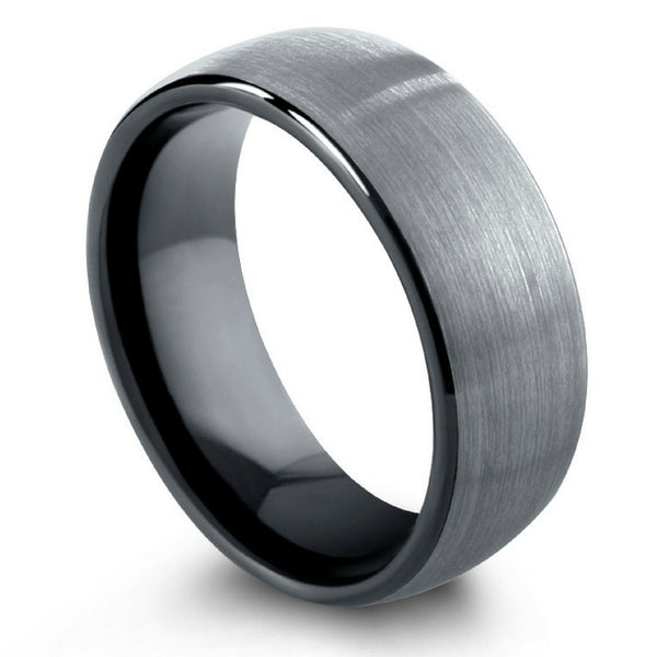 Brushed Tungsten Wedding Band With Black Inside 8mm or 6mm