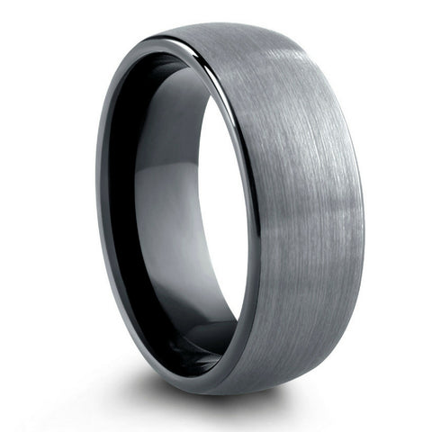 8mm OR 6mm Brushed Domed Tungsten Wedding Ring With Black Polish Inside
