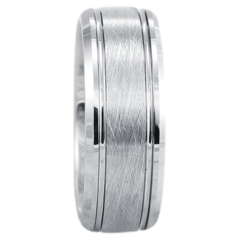 8mm Silver Brushed Tungsten Wedding Band With Beveled Edges and Two Channel Grooves