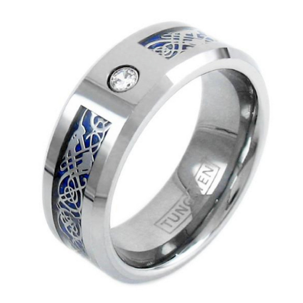 mens 8mm silver tungsten celtic ring with cz diamond stone