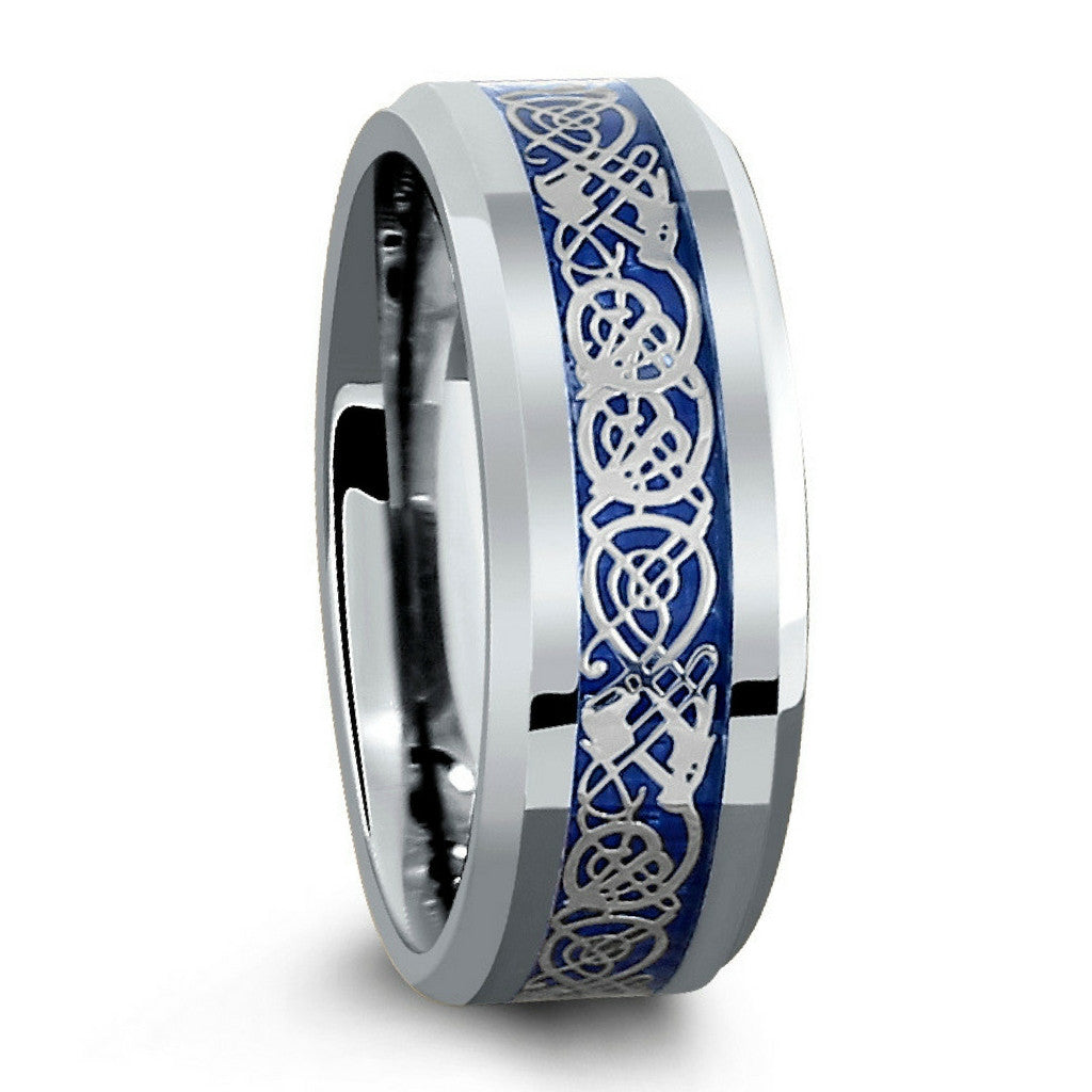 This is an image of 43mm Tungsten Wedding Band With Blue Celtic Inlay Design