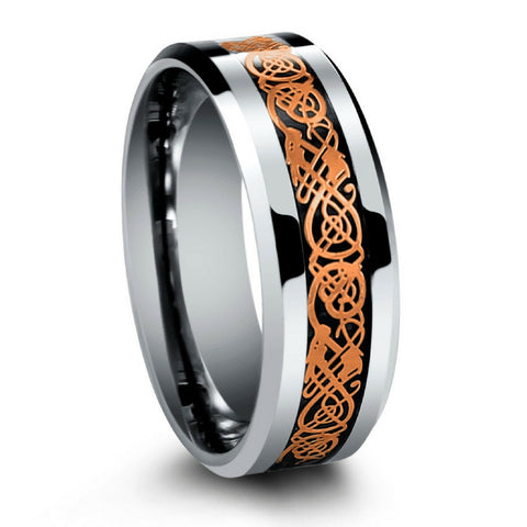 8mm tungsten carbide ring with celtic rose gold dragon inlay