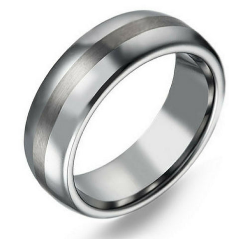 8mm Oval Titanium Wedding Band With Satin Center - Mens Titanium Wedding Ring
