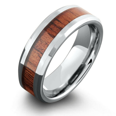 8mm Koa Wood Ring with Polished Beveled Edges