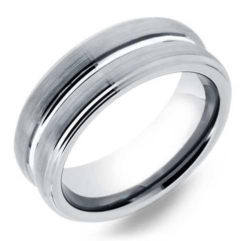 8mm Mens Tungsten Wedding Band With Satin Finish & Center Grooves - NorthernRoyal - 1
