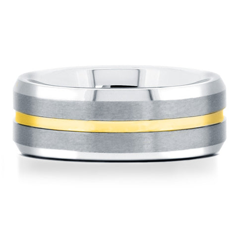 Mens tungsten carbide ring with yellow gold channel