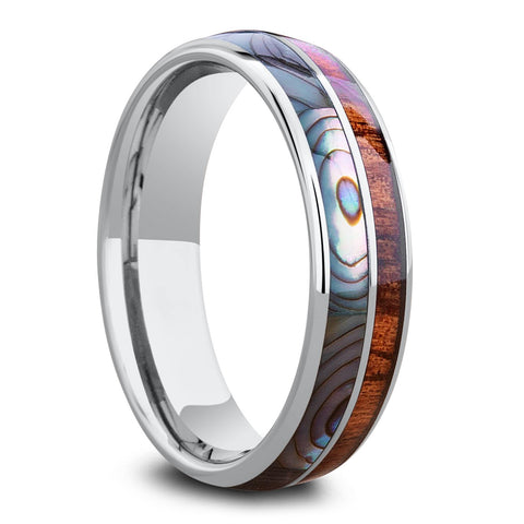 Abalone Koa Wooden Ring Crafted Out Of Tungsten