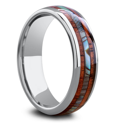 Men's Or Womens Koa Wood Ring With Abalone Stripe