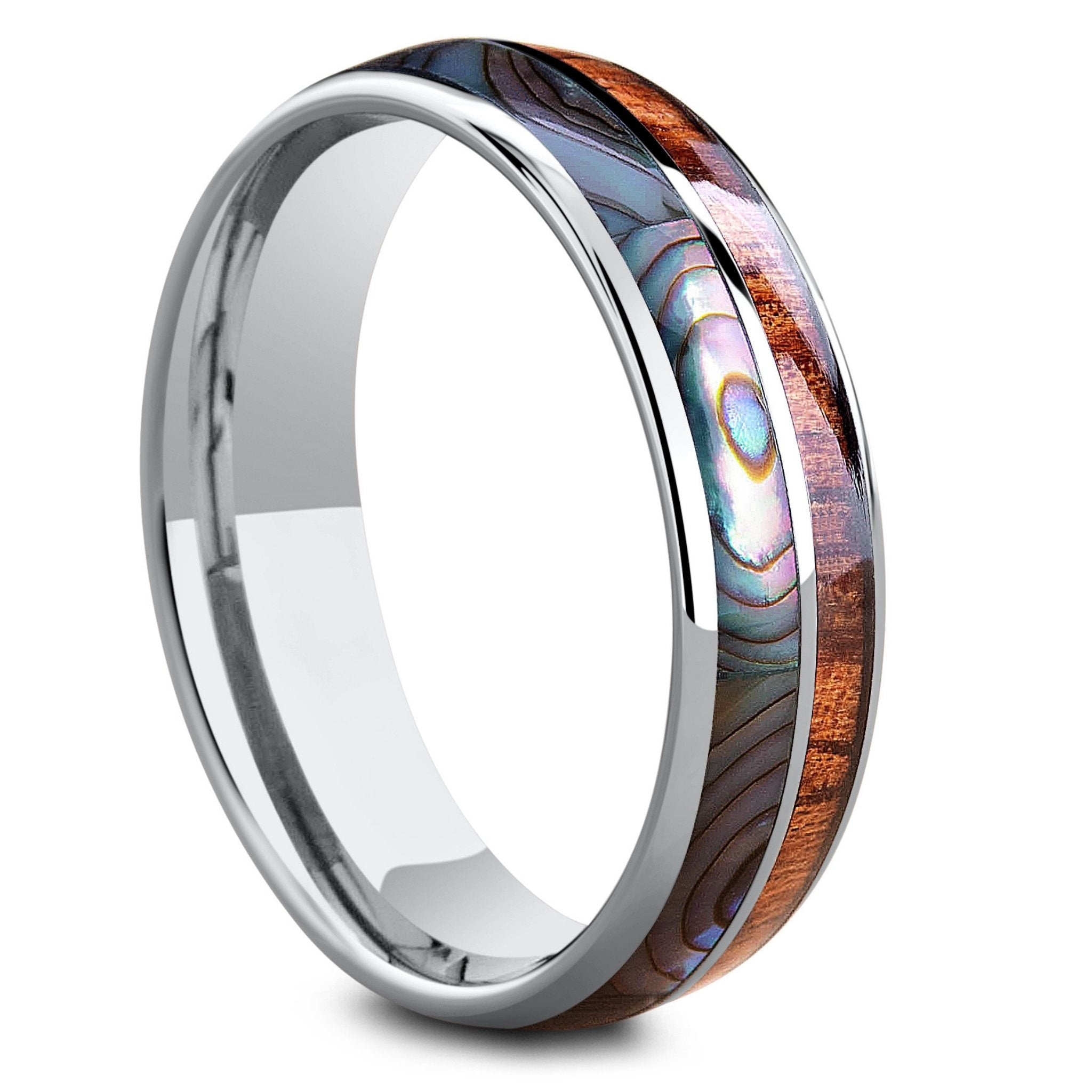 Koa Wood Abalone Tungsten Two Tone Wedding Ring Half Northern