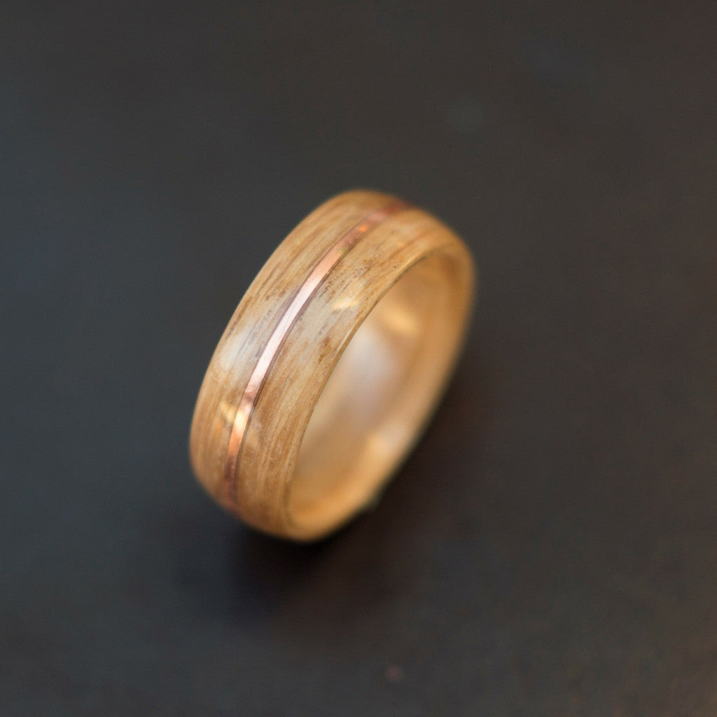 ring koa exterior wedding and with titanium bentwood ti wood bent finished interior satin products rings