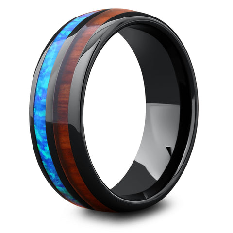 Men's Opal Wooden Barrel Ring