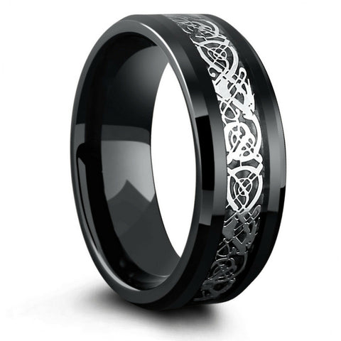 8mm Black Tungsten Wedding Band With Silver Celtic Design