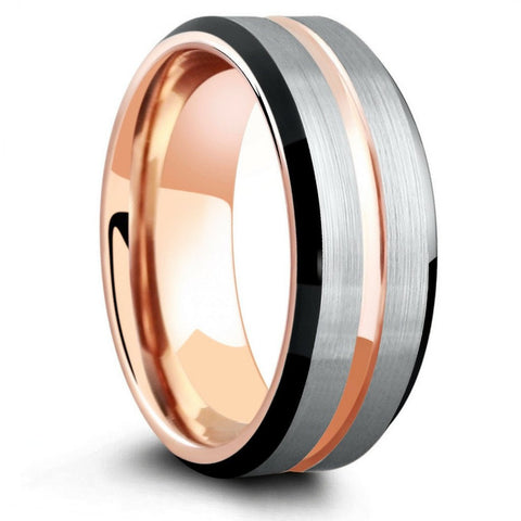 8mm Three Tone Brushed Tungsten Wedding Ring With Beveled Edges