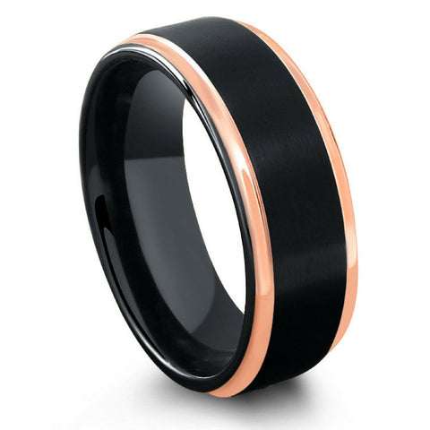 Black Tungsten Wedding Band With Step Down Polish Rose Gold Edges