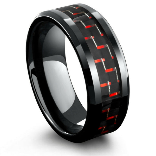 8mm Mens Black Tungsten Wedding Band With Black Red Carbon Fiber