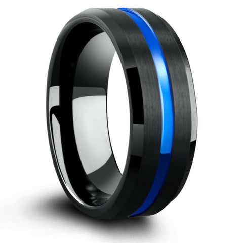 charcoal black tungsten wedding ring with blue carved channel - Black And Blue Wedding Rings
