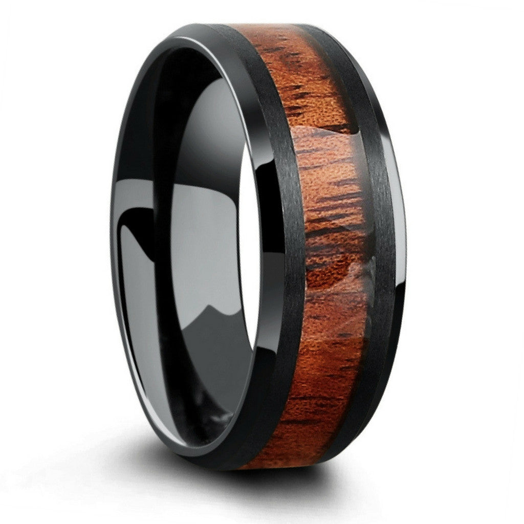 Yooper Black Tungsten Wood Ring Northern Royal Llc