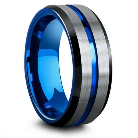 Mens Black, Silver, and Blue Tungsten Wedding Ring