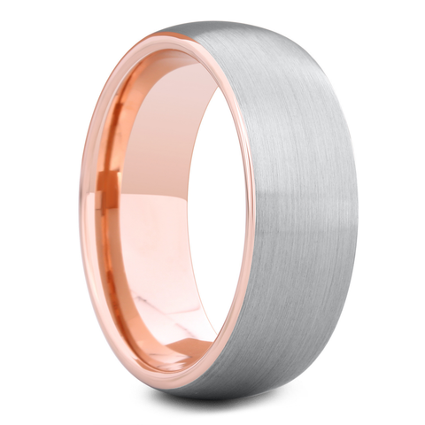 Men's Silver and Rose Gold Wedding Ring - 8mm Width