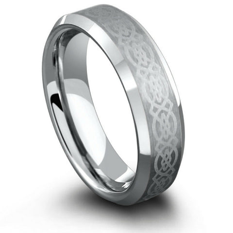 6mm Celtic Laser Etched Design Crafted Out of Tungsten Carbide