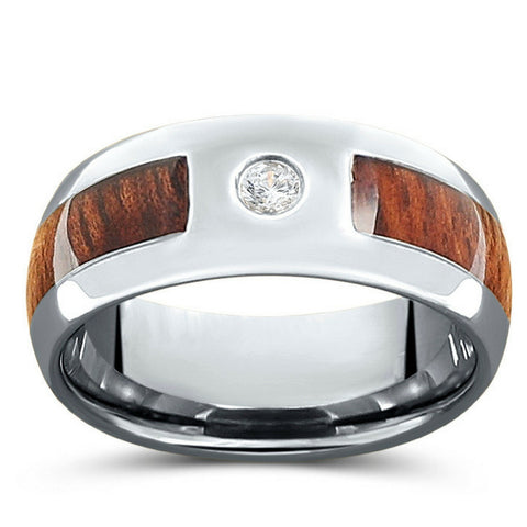 Wood Diamond Ring Crafted Out Of Tungsten Carbide - Genuine 0.02ct diamond