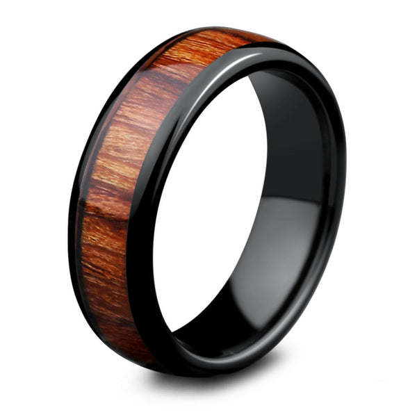 Polished Ceramic Wooden Ring (6mm Width