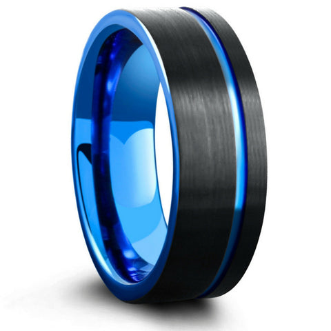 Mens Black & Blue Brushed Tungsten Wedding Ring - Pipe Cut