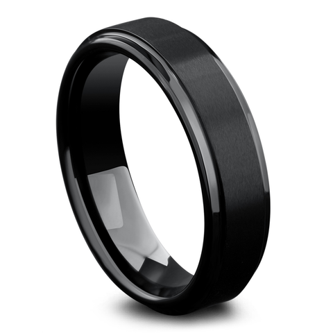 Men's Modern Titanium Wedding Band - Men's Black Titanium Wedding Band
