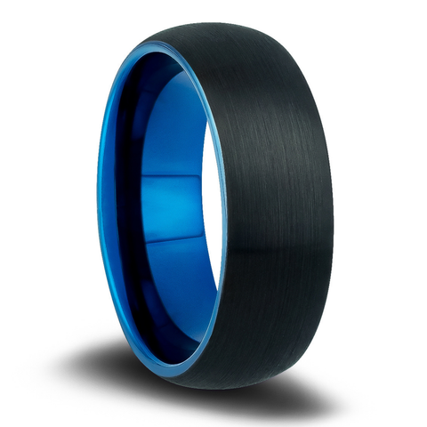 Men's Blue and Black Wedding Band | Men's Wedding Bands