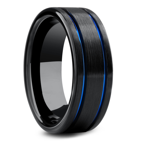 Men's Blue and Black Wedding Band - Men's Modern Wedding Bands
