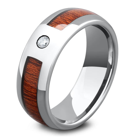 Mens Silver Tungsten Wood Diamond Ring
