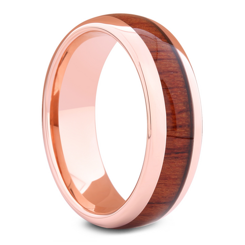 Men's Rose Gold Wedding Ring With Wood
