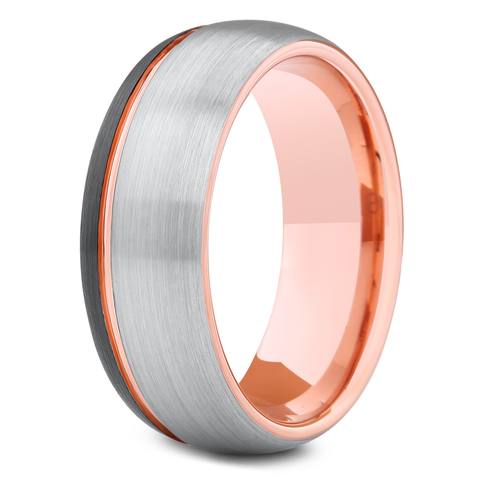 Men's Black, Silver, and Rose Gold Wedding Band