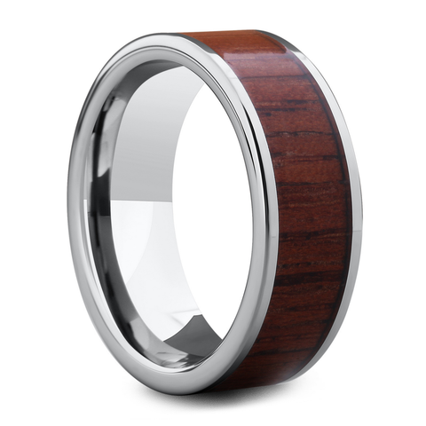 Men's Wooden Wedding Ring Silver